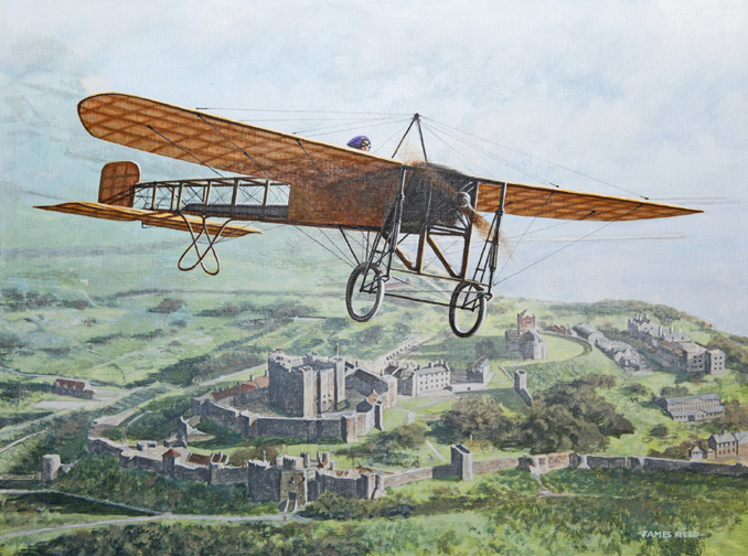 harriet quimby 1912 bleriot xi dover castle english channel painting