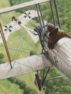 harvey-kelly be2a 1914 ww1 rumpler taube first victory painting