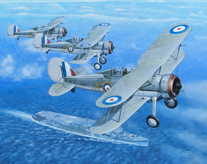 hms furious gloster gladiator ww2 804 squadron painting